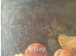 Tableau ancien XIXe Nature Morte Pêches Huile sur toile manière Siméon CHARDIN