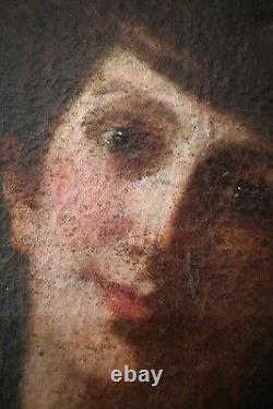 Tableau ancien, XIXe Siècle, Mère et enfant à la rose, Anonyme, Huile sur toile