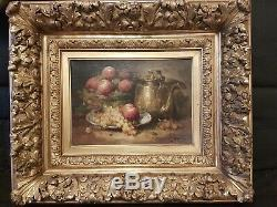 Tableau ancien XIXe huile sur toile Nature morte aux fruits cadre très décoré