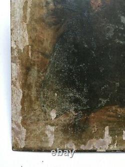 Tableau ancien à restaurer, Huile sur panneau, Portrait D'hommes, XIXe ou avant