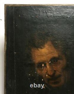 Tableau ancien à restaurer, Huile sur toile, Portrait d'homme, XVIIe