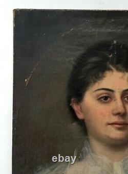 Tableau ancien à restaurer, Huile sur toile, Portrait de femme, Fin XIXe