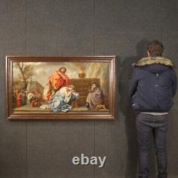 Tableau ancien biblique peinture huile sur toile cadre religieux 18ème siècle