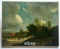 Tableau ancien daté 1862, Huile sur toile, Paysage animé Couple de bergers, XIXe