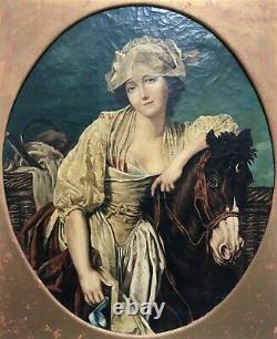 Tableau ancien dlg de Greuze, Huile sur toile, Laitière et son cheval, XIXe