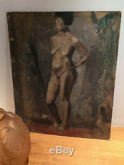 Tableau ancien double face sur carton femme nue (60 cm x 48 cm)