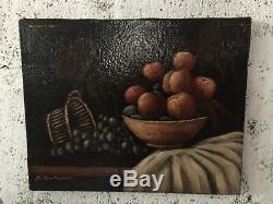 Tableau ancien fin XIXeme huile sur toile nature morte signé D. Cantadori état Ok