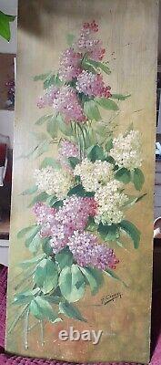 Tableau ancien fleurs lilas huile sur bois nature morte (G. Corbier 1869 1945)