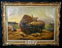 Tableau ancien grande huile sur toile les moissons récolte fertilité signé XXe