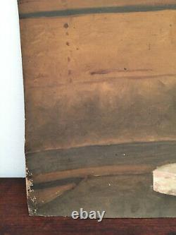 Tableau ancien huile sur carton épais INCONNU (XIXe-s) statue