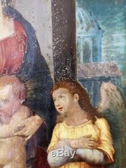 Tableau ancien (huile sur cuivre) / Vierge à l'Enfant & St Jean-Baptiste