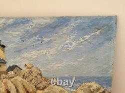 Tableau ancien huile sur panneau ALBERT DUJARDIN (XXe-s) phare en bretagne