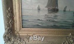 Tableau ancien huile sur panneau bateaux de peche 19 ème signé