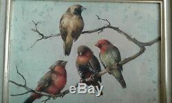 Tableau ancien huile sur panneau les 4 oiseaux Honoré Camos 1906-1991