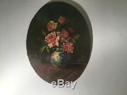 Tableau ancien huile sur panneau, nature morte bouquet de fleur. Signé