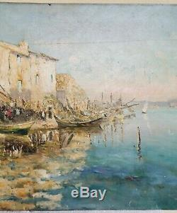 Tableau ancien huile sur panneau signé Olive port bateaux marine début 20 ème
