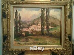 Tableau ancien huile sur panneau village provençale Marcel Bertoin 1897-1983
