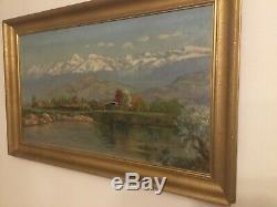 Tableau ancien huile sur panneaux, paysages d hiver, montagne, neige. Signé