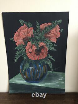 Tableau ancien huile sur papier B. DE (XXe-s) nature morte aux fleurs