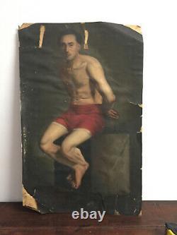 Tableau ancien huile sur papier marouflé sur carton INCONNU (XIXe-s) portrait