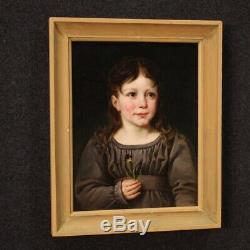 Tableau ancien huile sur papier portrait de fille femme peinture xixème siècle