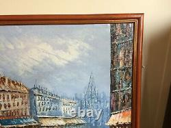Tableau ancien huile sur toile BURNETT (XXe-s) vue de paris