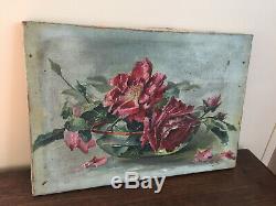 Tableau ancien huile sur toile G. A (XIXe-s) nature morte