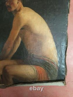 Tableau ancien huile sur toile INCONNU (XIXe-s) homme assis en maillot de bain