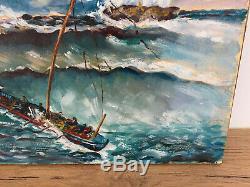 Tableau ancien huile sur toile LESTO 78 (XXe-s) marine