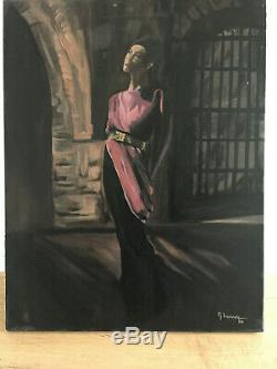 Tableau ancien huile sur toile M. LAOIRE (XXe-s) portrait