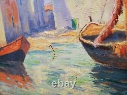 Tableau ancien huile sur toile Marine