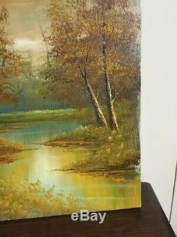 Tableau ancien huile sur toile PHILIPP CANTRELL (début XXe-s) paysage d'automne