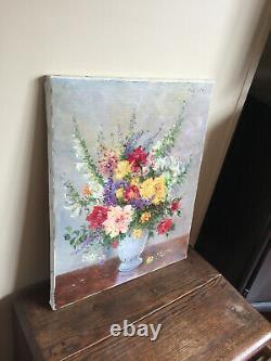 Tableau ancien huile sur toile PIRELLI (XXe-s) nature morte aux fleurs (coté)