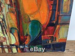 Tableau ancien huile sur toile S SEGUELA 1977 (XXe-s) abstrait