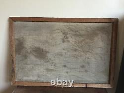 Tableau ancien huile sur toile à définir (XXe-s) cours d'eau bordure de village