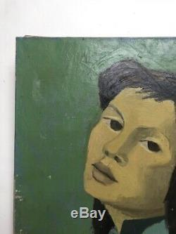 Tableau ancien, huile sur toile à restaurer, La vietnamienne, portrait