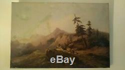 Tableau ancien huile sur toile ancienne restauration XIX signé