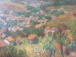 Tableau ancien huile sur toile auvergne art figuratif puy de dome 1961
