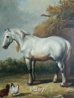 Tableau ancien huile sur toile cheval coq poules LENOIR XIXème 19ème