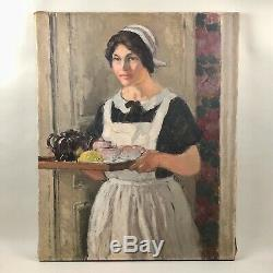 Tableau ancien, huile sur toile, l'heure du thé de GOBO (Gobeau)