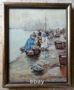 Tableau ancien huile sur toile marché aux poissons