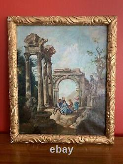 Tableau ancien huile sur toile paysage XVIII em old painting antic landscape
