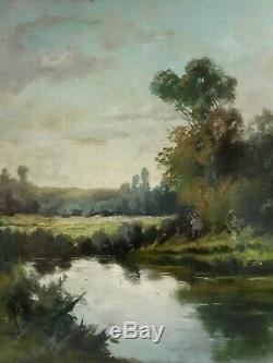 Tableau ancien huile sur toile paysage lacustre animé XIXème 19ème (signé)