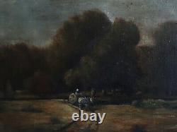 Tableau ancien huile sur toile paysage orageux charrette XIXème