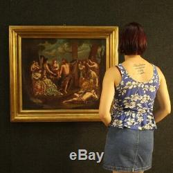 Tableau ancien huile sur toile peinture bacchanale époque 800 xixème sicle