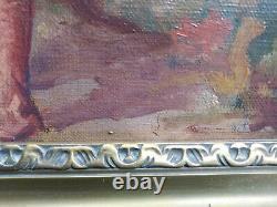 Tableau ancien huile sur toile personnage basque ou catalan scène populaire