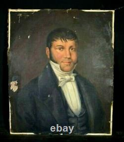 Tableau ancien huile sur toile portrait d' homme de qualité style XIXème