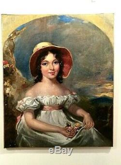 Tableau ancien huile sur toile portrait de jeune fille fleurs signé Début XIXème