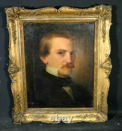 Tableau ancien huile sur toile portrait de jeune homme début XIXème Romantisme