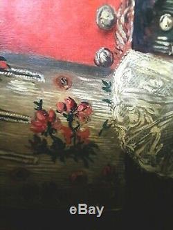 Tableau ancien huile sur toile portrait fin XVII siècle début XVIII